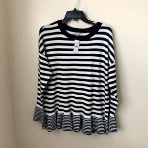 Loft Outlet Sweater Striped Cotton Peplum Hem